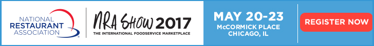 NRA Show 2017. May 20-23, McCormick Place, Chicago. If you're in foodservice, this is your show. Register now.