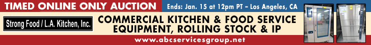 Timed Online Only Auction. Ends: January 15 at 12PM Pacific Time. Los Angeles california. Commercial Kitchen and Food Service Equipment, Rolling Stock and I.P. Strong Food/L.A. Kitchen, Inc.