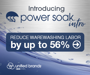 Unified Brands Introducing Power Soak Intro. Reduce warewashing labor by up to 56 percent. Learn more.