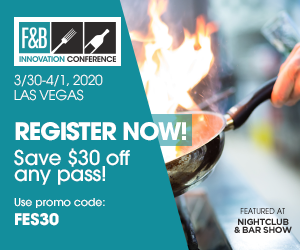 F&B Innovation Conference. March 30-April 1, 2020, Las Vegas. Register Now! Save $30 off any pass! Use promo code FES30.