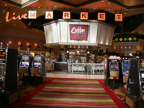 "The Coffee station, open 24/7, is visible from the casino floor. ""Coffee"" is not one of the six stations listed above."