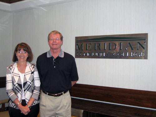 Cathy Brookshire, education director of Meridian Community College Foundation, and Jerry Greene.
