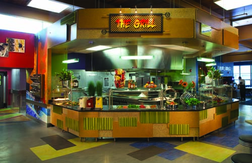 At the Grill, staff use a charbroiler and flat grill to make cooked-to-order omelets and fried eggs at breakfast. At lunch and dinner, the equipment is used to make cooked-to-order grilled chicken, hamburgers and veggie burgers.