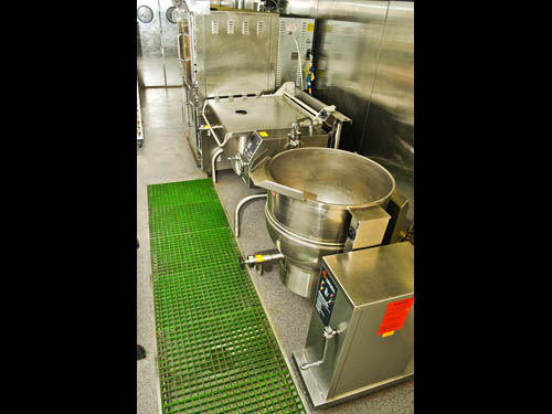 Bulk prep contains convection ovens, a 40-gallon braiser and a 60-gallon kettle.
