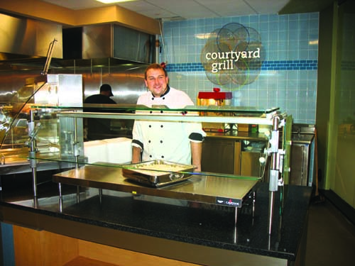 Courtyard Grill features a charbroiler that sizzles burgers, chicken and eggs. Hot holding shelves keep products warm during peak traffic periods.