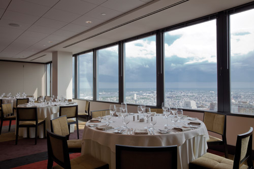 The private dining room hovers in close proximity to the statue of William Penn atop Philadelphia's City Hall.