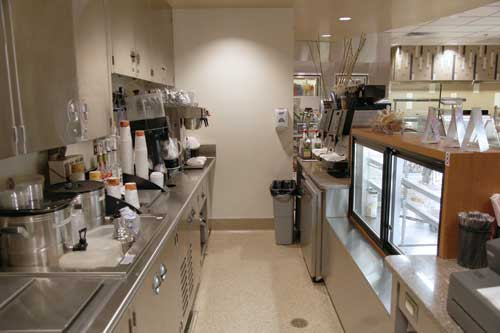 Back-of-house support for Café Ole includes an ice bin for smoothies, a blender and a coffee maker.
