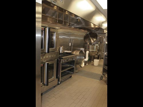 Equipment in the commissary includes a convection oven, four-burner range, two steam kettles and a steamer.