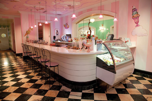 The dessert shop sits just inside the entrance to Draper's, inviting guests to taste the house-made ice cream and pastries.
