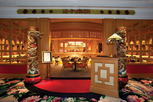 In-Fusion sits on the level of the casino, inviting customers to enter the Pacific Rim for an Asian experience.
