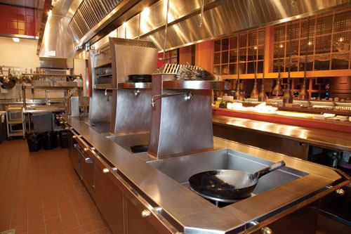 Chefs selected woks with handles so staff can use them easily based on their training.