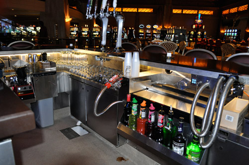 At the H Lounge bar, all equipment is suspended off the bar die, which contributes to the clean look and actual ease of cleaning. All pieces of equipment and small wares have a specific place in the layout, which Barber says helps staff stay organized while they work.