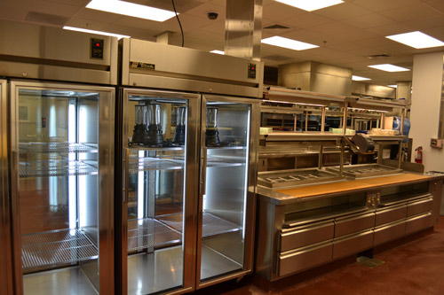 Glass doors on upright refrigerators allow staff to easily see products that they need for the pantry and the line