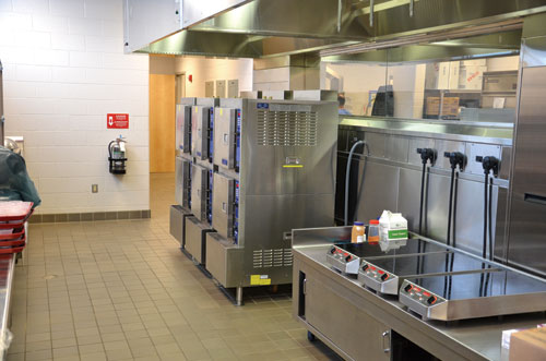 Staff use induction ranges to prepare sauces and oatmeal, <br /> and steamers for vegetables and taco meat.