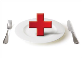 Illustration of Plates with a red cross, representing healthcare and the restaurant industry.