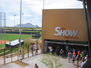 Salt River Field's concourse is  open to the ball field for easy viewing.