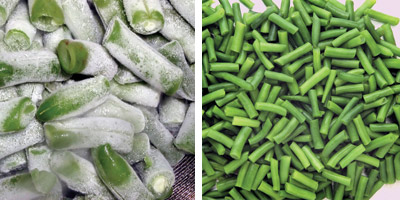 Frozen and fresh green beans
