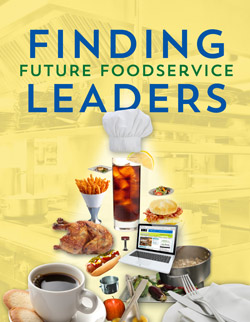 Pyramid composed of food and equipment items to illustrate the idea of finding future foodservice leaders