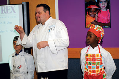 Ryan Conkjlin with Junior Chefs
