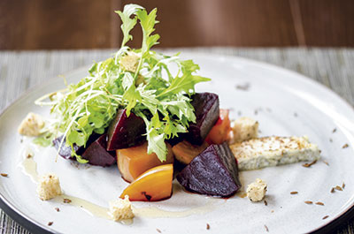 Dining-room-Beet-Salad-candied-caraway-rye-bonne-bouche-mizuna-honey