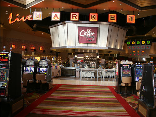 The Coffee station, which stays open 24/7, overlooks the casino floor.