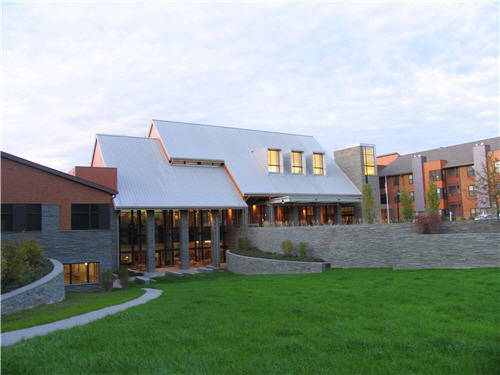 The community center at Newbridge on the   Charles contains Centro restaurant and Nosh. The center is one of several   buildings on the 162-acre campus.