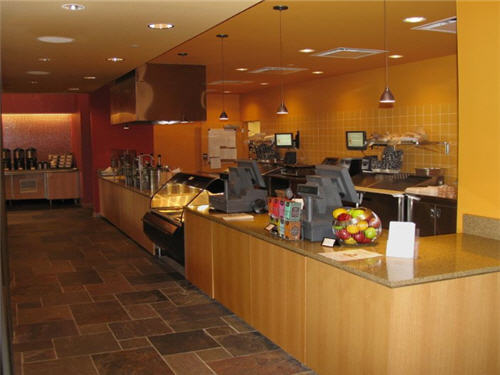At Nosh, the casual deli/bistro, guests   order from a menu offering everything from bagels and coffee to deli   sandwiches, soups and sides. Guests help themselves to beverages. Display   counters contribute to the facility's retail ambiance. A kosher kitchen sits   behind this operation that supports the entire CCRC.