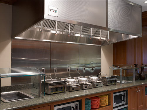 Induction burners, waffle irons and microwave ovens allow students to make their own breakfasts on the second floor.
