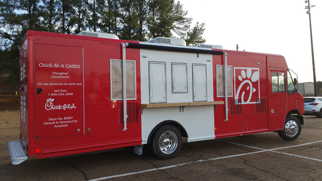 For on-the-go dining and brand expansion, food trucks can be relocated as needed to diffuse the dining population.