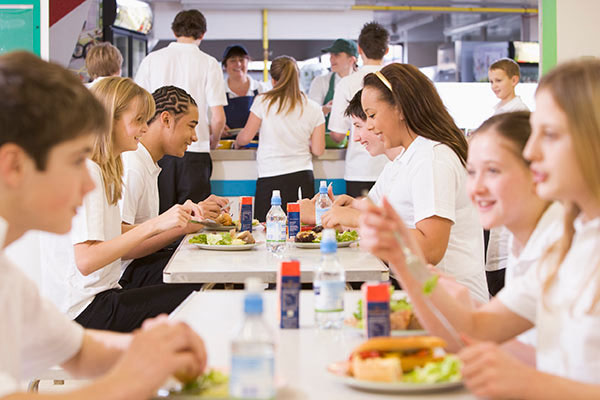 Kids in school cafeterias